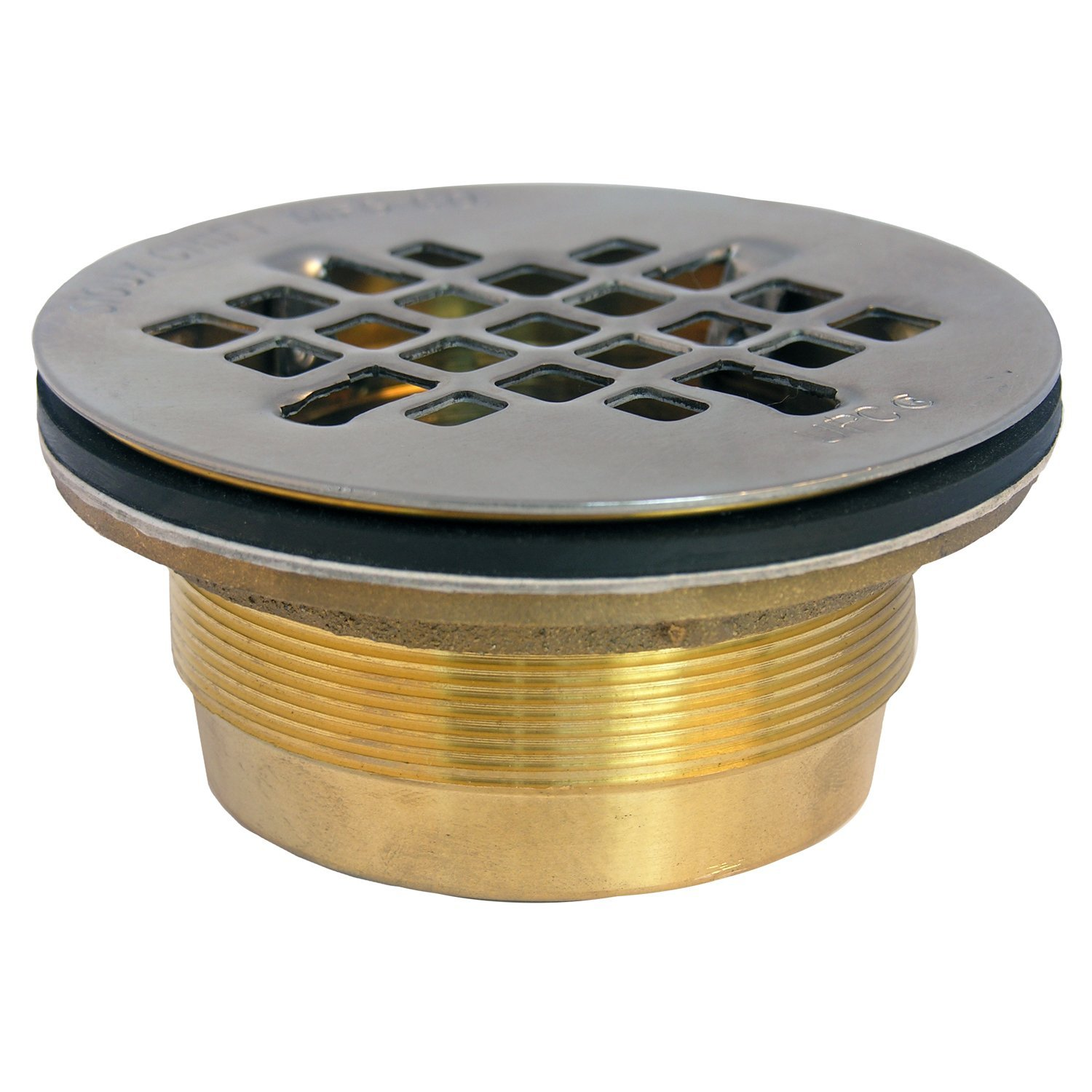 LASCO 03-1223 Drain for Fiberglass Shower with 2-Inch Compression Gasket Connection and Brass Body with Snap In Stainless Steel Strainer