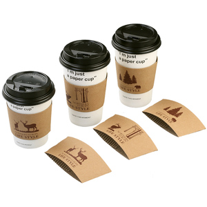 Recycled adjustable brown white cardboard advertisement paper cup sleeves