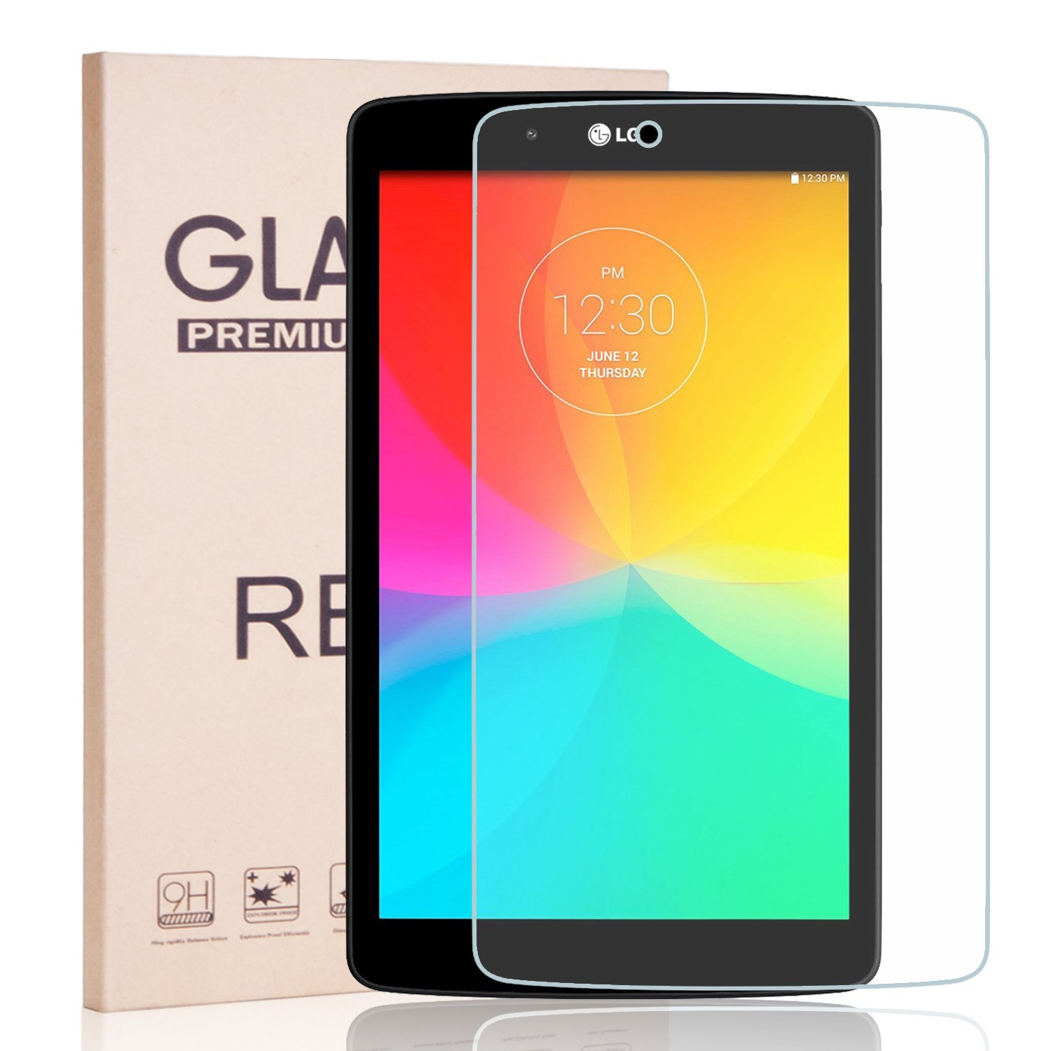 LG G Pad V480 8.0 Inch Screen Protector - RBEIK Premium 9H Hardness Tempered Glass Screen Protector for LG Electronics G Pad LGV480 8-Inch Tablet NOT FIT LG G PAD F 8.0 Tablet