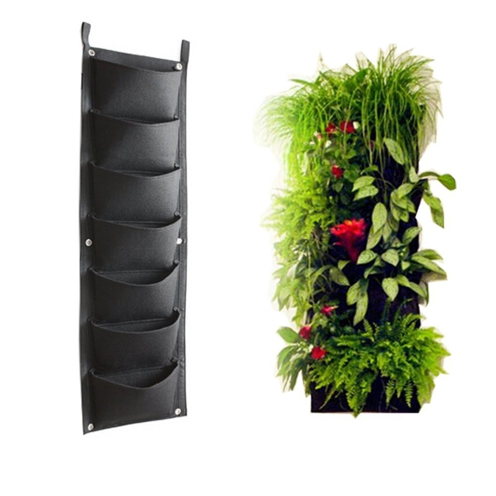 Onlylife 7 Pockets Vertical Wall Garden Planter Wall-mounted Plant for Indoor/outdoor, Eco-friendly Recycled Materials