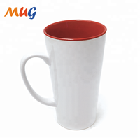 16 oz high quality Customized outer white blank inner color coating ceramic stoneware mug for promotion