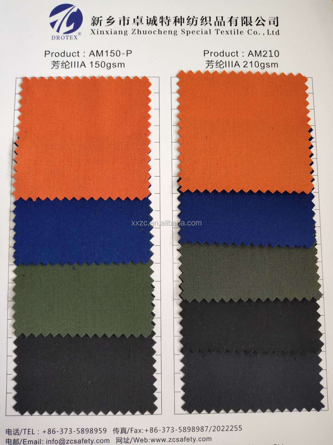 Inherent Fire Retardant 6.2oz Aramid Fabric Orange Navy Green Royal Black Color In Stock