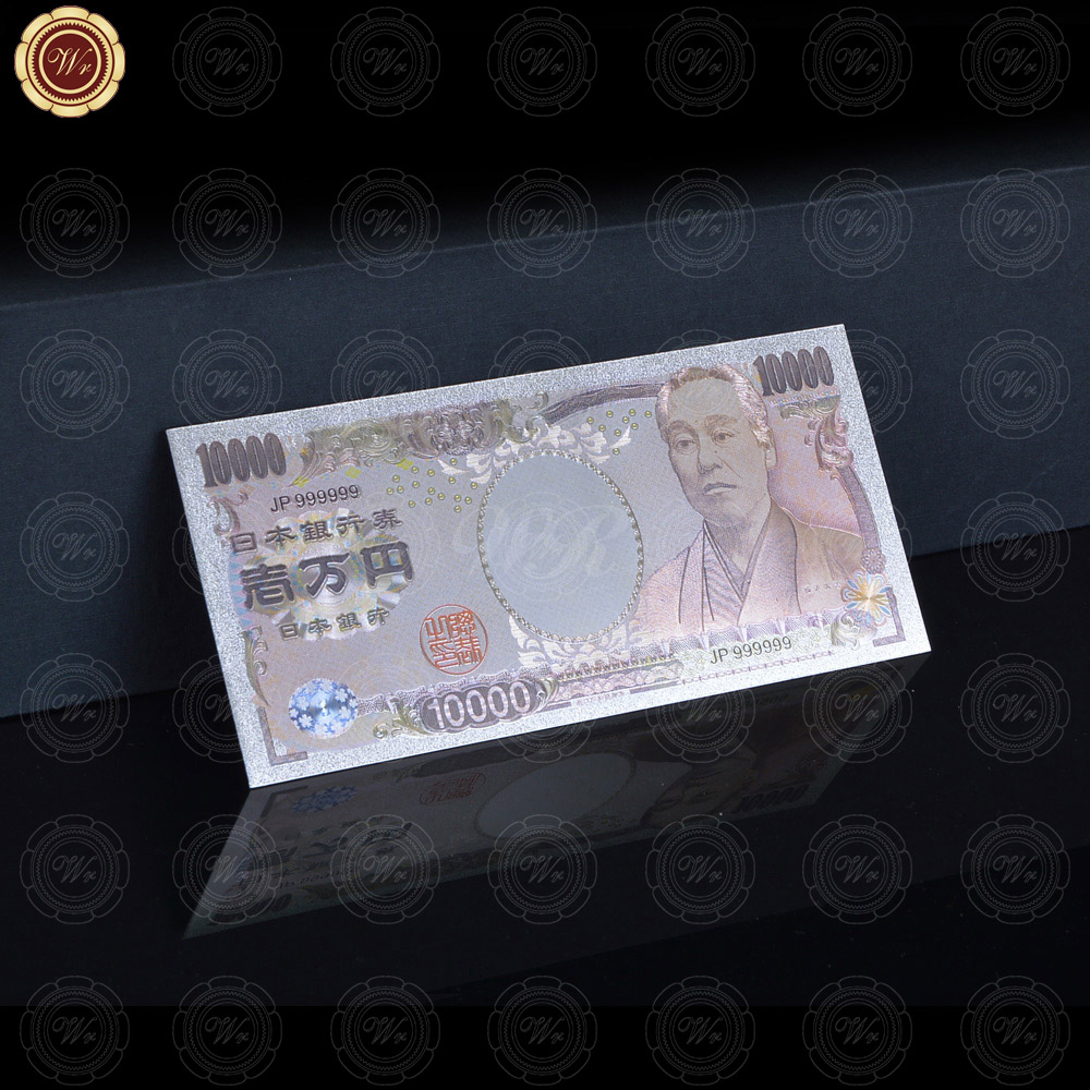 WR Silver Banknote Mascot Japan 10000 Yen Bill Sheets pure Color Nice Looking