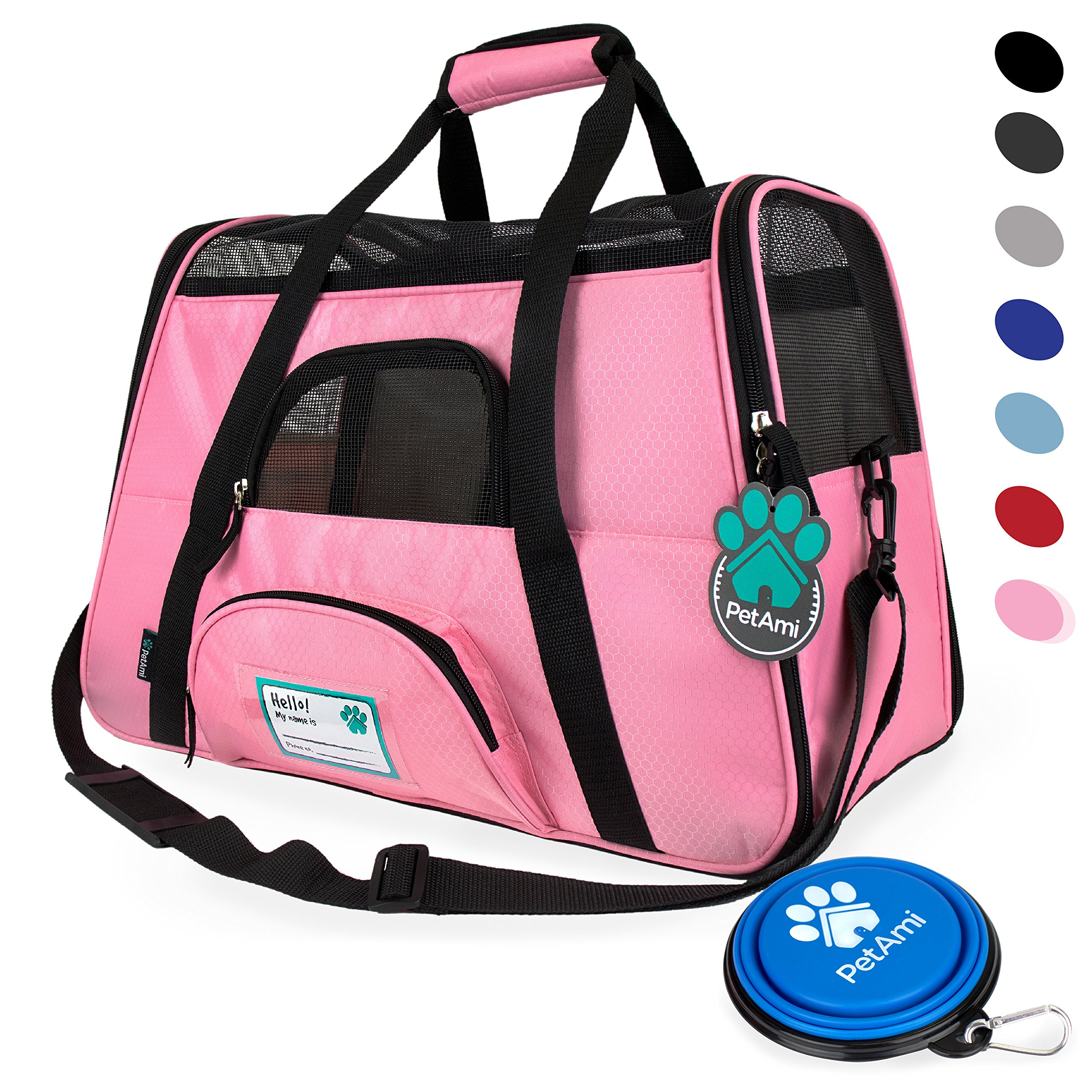 PetAmi Premium Airline Approved Soft-Sided Pet Travel Carrier by Ventilated, Comfortable Design with Safety Features   Ideal for Small to Medium Sized Cats, Dogs, and Pets