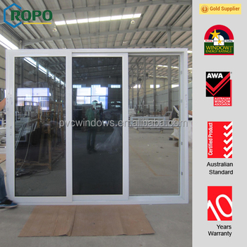 Made In China Upvc 3 Panels Hotel Sliding Glass Doors