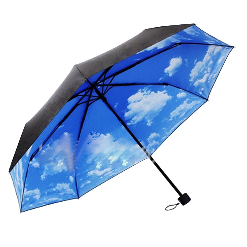 3 Складной Голубое Небо Зонтики Супер Зонтики УФ Зонтик Зонтики Дождь Зонтик для Женщин