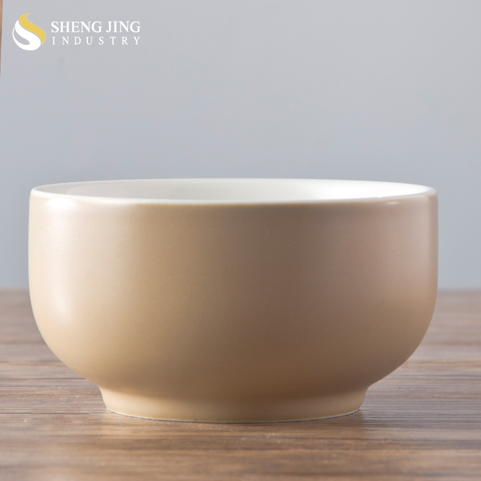 Japanese style ceramic Soup Rice Noddle Bowl with light brown color