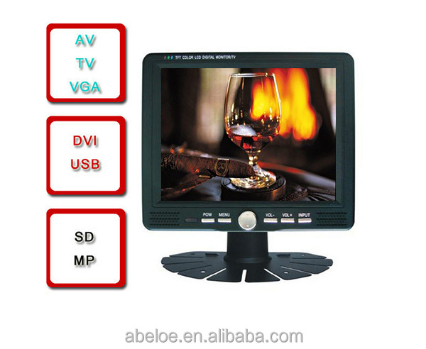 7 inch LCD Car Monitor 7 inch TFT Color Monitors VGA/AV Support