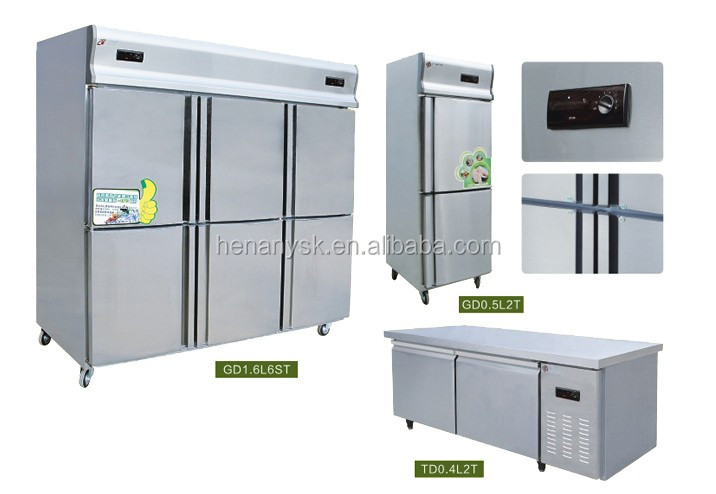 0 to -15 C 4 Door single-temperature freezers brass compressor kitchen refrigerator