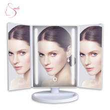24 led functional 3 way makeup mirror hotel lighted vanity mirror with usb cable