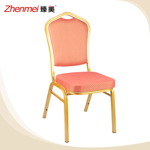 High quality fabric cushion dining room gold aluminum banquet chair for sale