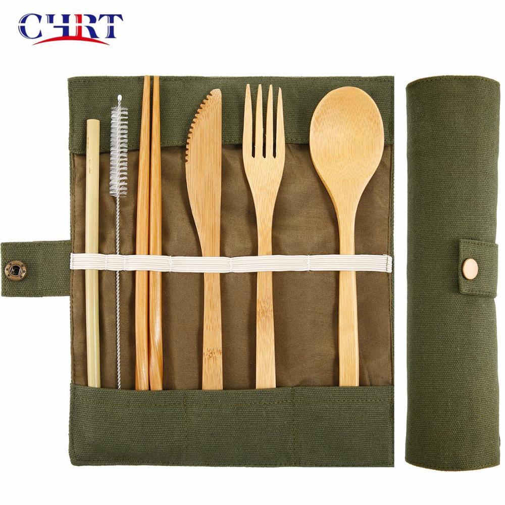 CHRT Wooden Disposable Camping Travel Utensils Flatware Sets Children Reusable Travel Bamboo Cutlery Set with Bag