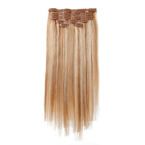 Unprocessed ombre color straight virgin remy human hair clip in hair extensions for white women