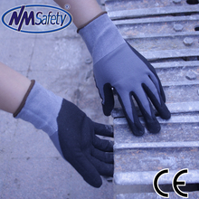 NMSafety knitted nylon Dipping Nitrile Rubber safety gloves