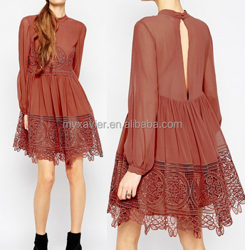 New Fashion 34 Long Ladies Western Dress Back Split Lace Swing Design Wholesale Price Buy Ladies Western Dress Designsladies Brand Name Dresslace