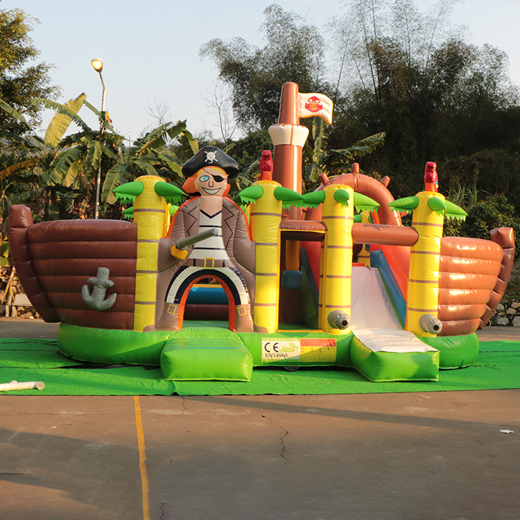 High quality professional customization 8*8m pirate ship theme bouncers bouncy castle with slide combo inflatable bounce house
