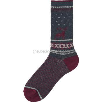 christmas decoration jacquard teen tube socks men dark red - Christmas Socks For Men