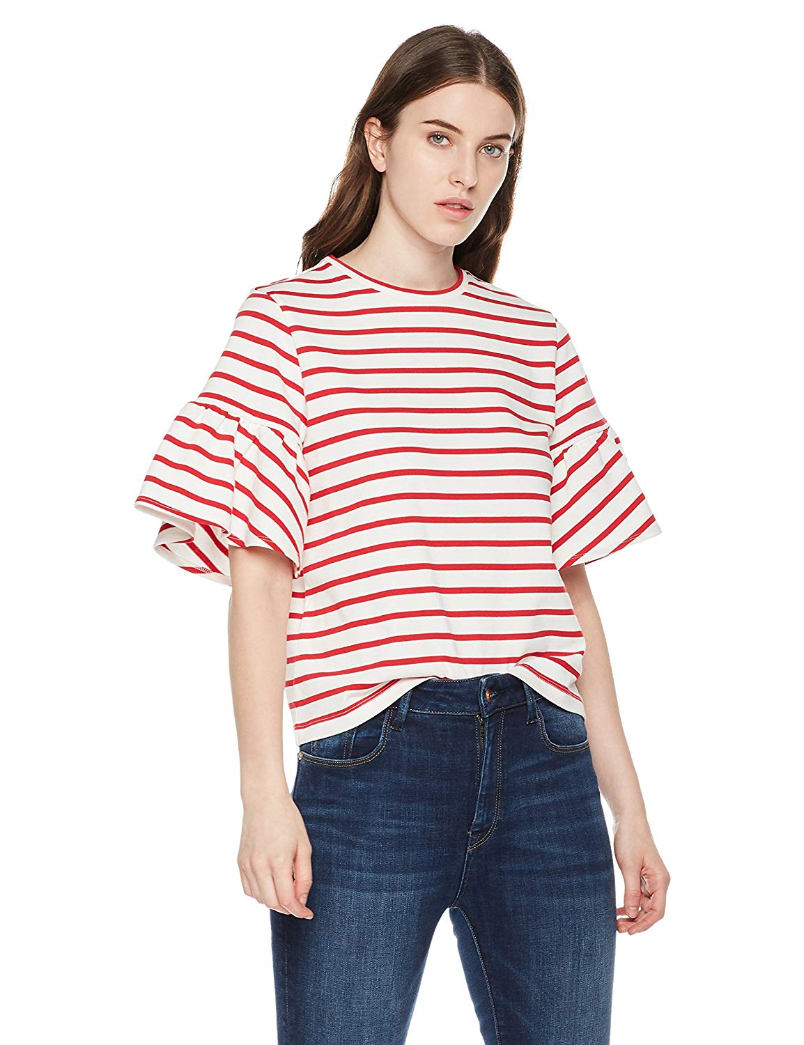 89cd78e7 True Angel Round Neck Ruffle Flare Short Sleeves Allover Red/White Stripes  Top