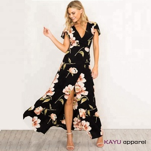 Summer Sexy Woman v-neck Chiffon Long Bohemia Flower printed maxi Beach dress