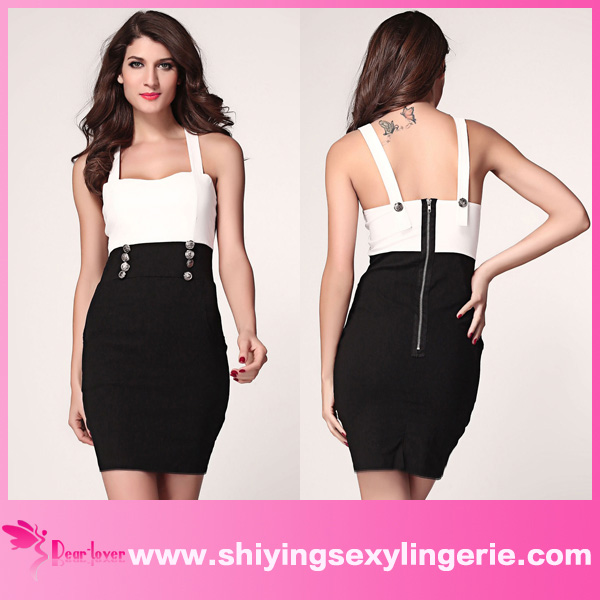 New Wholesale Black White Urban Womens Shoulder striped skater dress