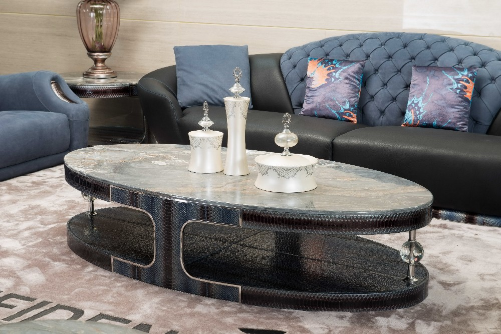 Italian Palissandro Blue Marble Coffee Table Oval Shape Leather Coffee Table High End Livingroom Table View Marble Top Coffee Table Difiden Product Details From Foshan City Shunde Districe Longjiang Town Kangbao Furniture Co