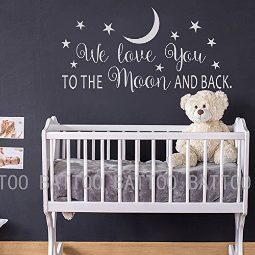 "BATTOO We Love You To The Moon And Back Wall Decal - Nursery Wall Decal - Moon And Stars Nursery Decals - Children Wall Decor - Wall Decals Nursery(white, 30""WX15""H)"