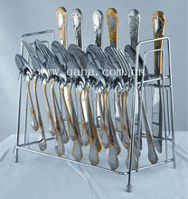 High quality stainless steel flatware set with stand, cutlery set with stand, flatware/ cutlery stand