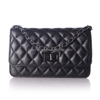 Classic Black Sheepskin Leather Crossbody Purse Quilted Diamond Leather Bag