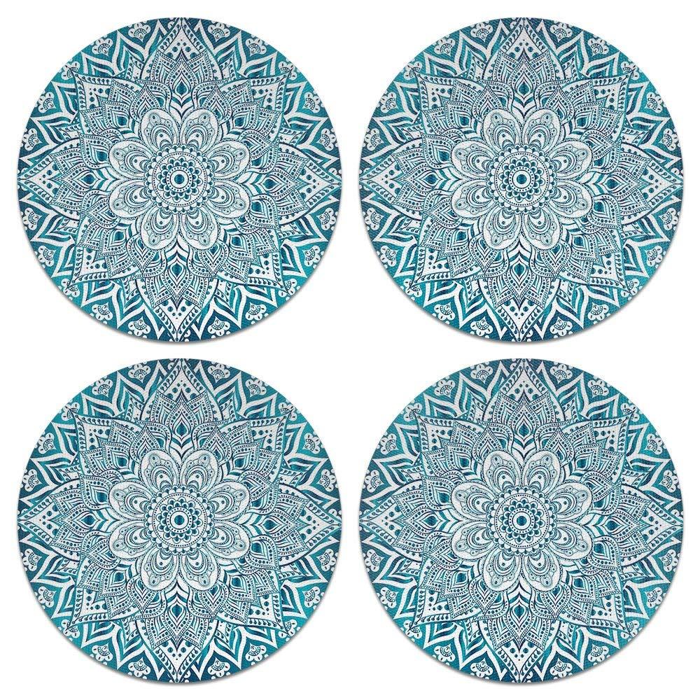 CARIBOU Coasters, Teal & White Mandala Design Absorbent ROUND Fabric Felt Neoprene Coasters for Drinks, 4pcs Set
