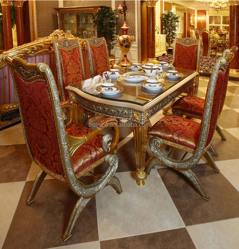 Luxury French Baroque Style Home Dining Room Sets Antique Golden Gorgeous Wood Carving Table
