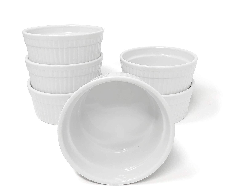 Furmaware White Porcelain 12oz Ramekins Set: 6-Piece Baking & Serving Individual Ramekin Bowls| Sturdy & Classy No Odor & Easy To Clean Ramekin Cups| Decorative Soufflé, Sauce, Dressing & Dip Ramekins