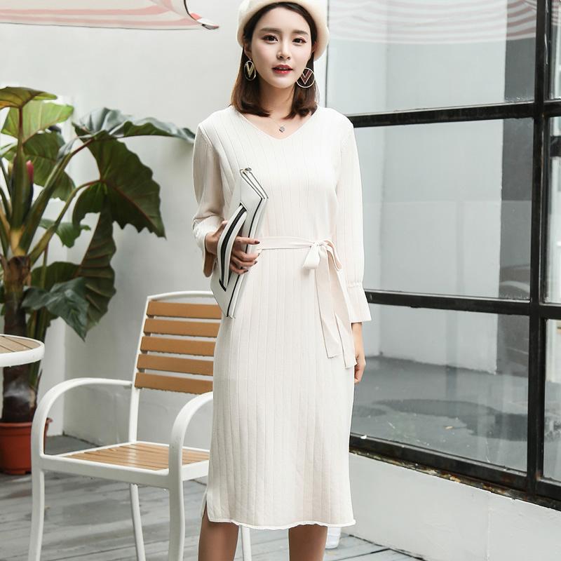OEM Новое Женское повседневное сексуальное платье с длинным рукавом  v-образным вырезом платье на заказ оптовая продажа дамское офисное платье  бабочка ... c81ff437374
