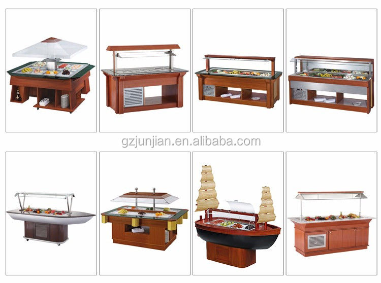 Commercial Restaurant wood Hoodle type stainless steel salad bar