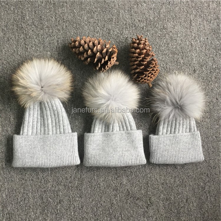 New Design Knitted  Fur Pom Pom Hat Baby Children Unisex Cable Knit Cuff Beanie fur Hat Wholesale