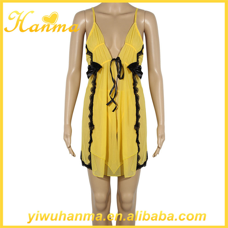 Fancy yellow evening dress seven colors erotic nighties sexy luxury babydolls