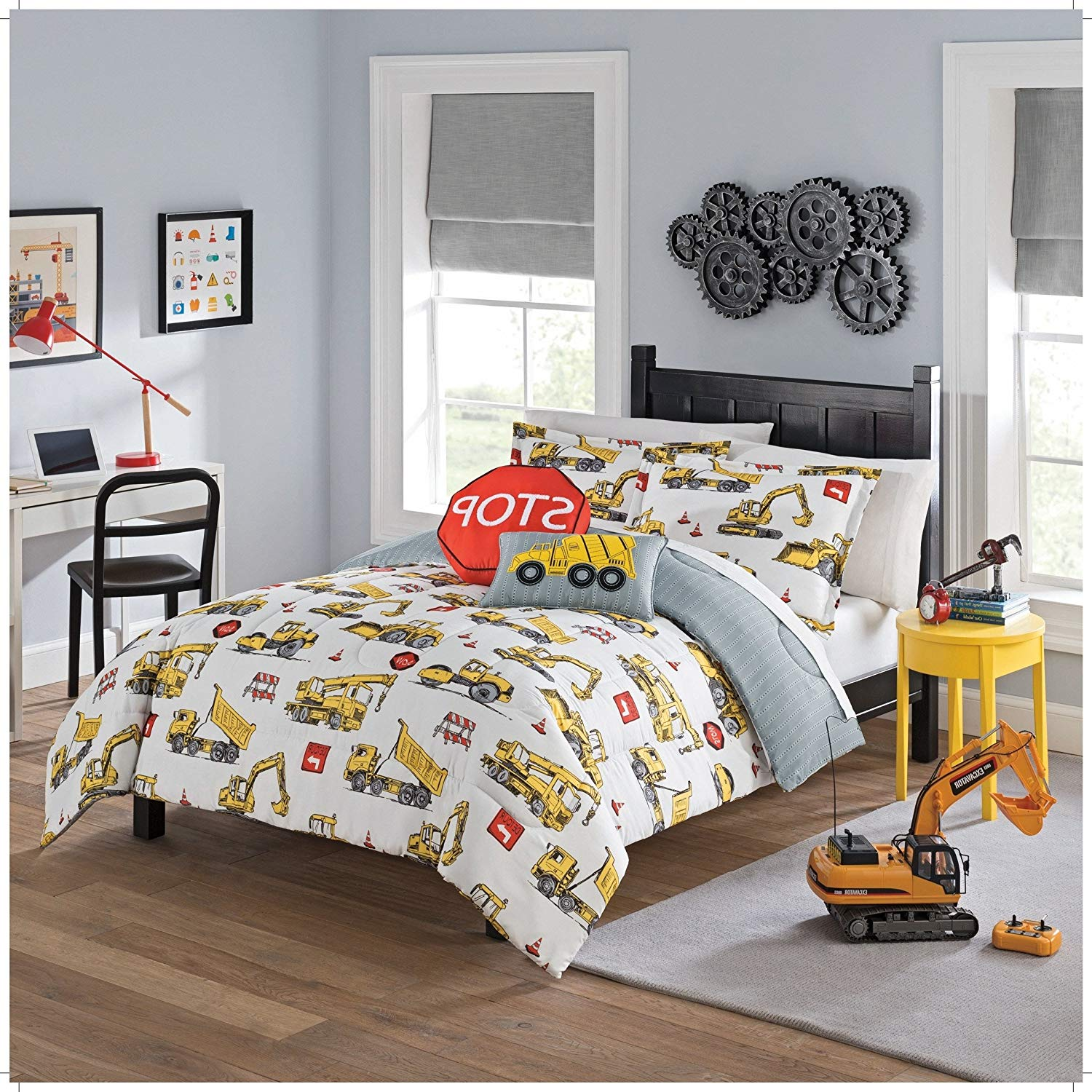 MI 3 Piece Kids Construction Site Comforter Set Full Sized, Boys Yellow Dump Truck Crane Red Stop Sign Themed Bedding, Caution Detour Bulldozer Theme, Reversible Grey White Stripe Pattern, Polyester