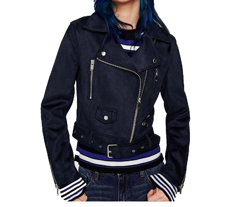 M/&S/&W Womens Faux Suede Jacket Causal Lapel Long Sleeves Zip Short Biker Coat