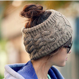 Womens Knitted Ponytail Hats Head Warmer Head Band