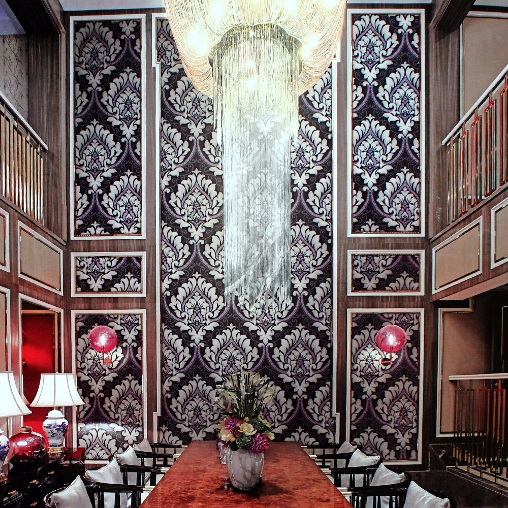 Luxury Design Big Flower Interior 3D Modern Wallpaper Made in China for Entertainment Project