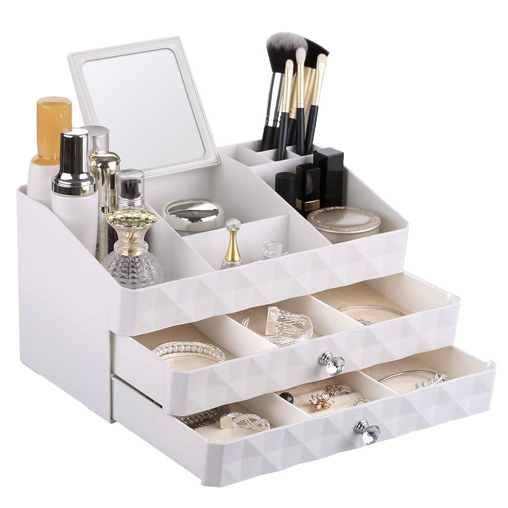 Rackaphile Jewelry and Makeup Organizer, Makeup Cosmetic Organizer Storage Drawers Display Boxes with Mirror Great for Brushes Cosmetics Jewelries, White