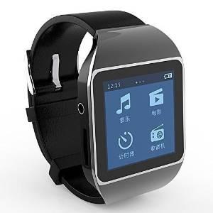 "Allreadytech Intelligent Watch Bluetooth Mp3 Music Player 8GB with 1.5"" Touch Screen Support Bluetooth Fm Pedo Meter World Clock Function (Black)"