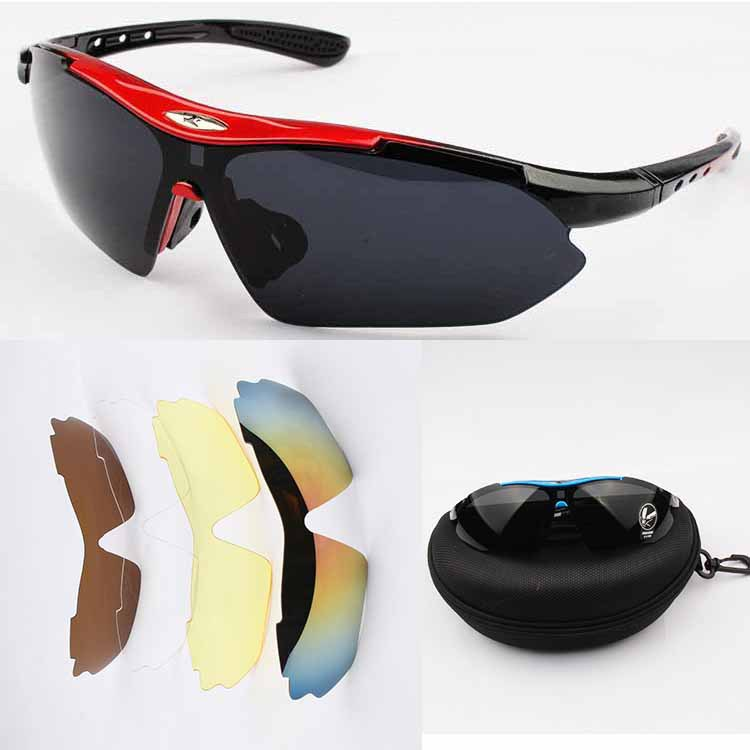 High quality sports sun glasses 5 lens polarized eyewear with original box windproof summer style outdoor sport men sunglasses