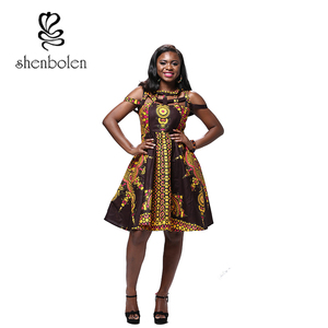 African hot sexy fashion clothes batik fabric print dress