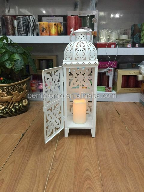 White hollow metal Medallion Lantern