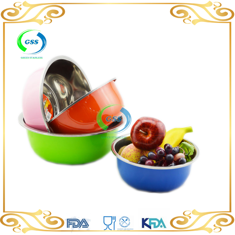 Chaozhou supplier stainless steel sala bowl mixing bowl with different color