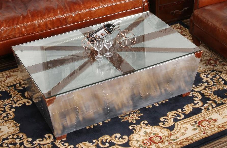 Vintage Spitfire Jack Union Aluminium Aviator Coffee Table
