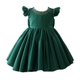 Green Pearl neck decoration bowknot lace material fashion kid girl dresses