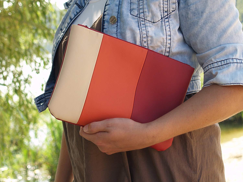 Get Quotations Handmade Clutch Bag Red Cream Purse Vegan Eco Faux Leather Handbag Strap Evening Wedding Bridesmaid
