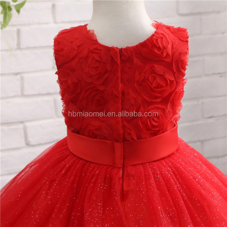 Rot Farbe Kinder Schönheit Pageant Kleider Für Kleine Mädchen ...
