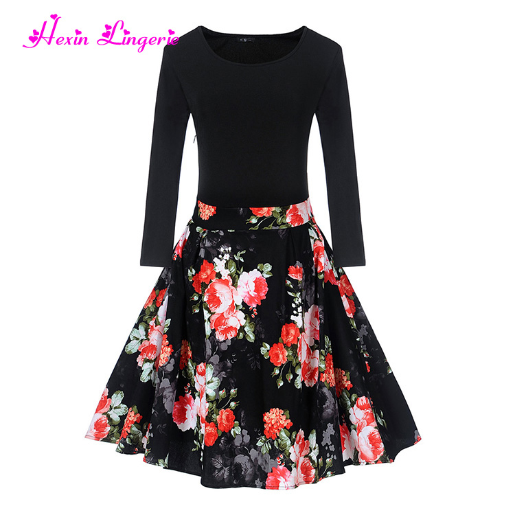 Hot Selling wholesale casual vintage women floral printing ladies clothing dress